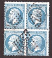 Bloc De 4 Napoléon III N° 22 Bleu - Oblitération GC 3997 Tours - 1862 Napoléon III.