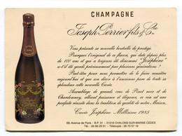 Carte Pub  : Vins De Champagne Maison Joseph Perrier à Chalons Année 1985 1989 Et Cuvée Joséphine - Advertising