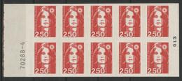CARNET MARIANNE DE BRIAT 10 TP à 2,50 € Rouge N° 2720-C1 Cote 15 € Vendu à La Valeur Faciale (voir Description) - Definitives