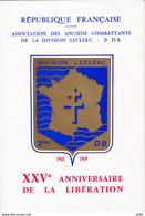 25 EME ANNIVERSAIRE DE LA LIBERATION ASSOCIATION DES ANCIENS COMBATTANTS DE LA DIVISION LECLERC - Liberation