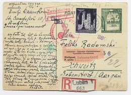 GENERAL GOUVERNEMENT  POLAND POLSKA ENTIER 12C POSTKARTE +80C REC LUBLIN 1940 TO HELVETIA SUISSE + CENSURE NAZI - Generalregierung