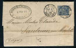 Lettre Avec Texte Du Havre Pour Saulxures En 1888 - Ref M42 - 1877-1920: Semi-moderne Periode