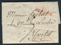 MP Du Havre Sur Lettre Avec Texte De Ingouville Pour Yvetot En 1827 - Ref M67 - 1801-1848: Voorlopers XIX