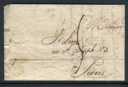 MP En Rouge Du Havre Sur Lettre Avec Texte Pour Paris En 1822 - Ref M68 - 1801-1848: Voorlopers XIX