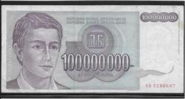 Yougoslavie - 100000000 Dinara - Pick N°124 - TTB - Yugoslavia