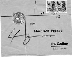 SUISSE.1942.  VIGNETTE CROIX-ROUGE.USAGE INTERDIT ET TAXEE. - Covers & Documents