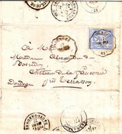 25 C Sage Obl CONVOYEUR STATION LOURDES Hautes Pyrenees , Lettre Du SANCTUAIRE !!!!! 1877 - 1877-1920: Période Semi Moderne