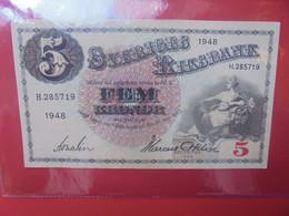 SUEDE 5 KRONOR 1948 Peu Circuler BELLE QUALITE (B.22) - Sweden