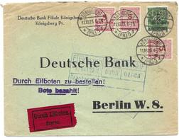 Infla Brief Koenigsberg Nach Berlin Deutsche Bank DBK Perfins 11.10.1923 Mit Michel 316AW 15 Euros+ - Covers & Documents