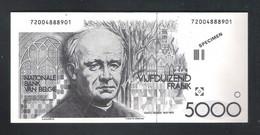 BANKBILJET 5000 FRANK -  SPECIMEN  ( 15.5 Cm X 7.2 Cm ) (2 Scans) (BB 53) - [ 8] Fictifs & Specimens
