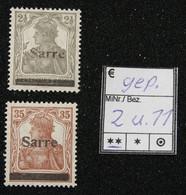 Nr. 2 Und 11 Saargebiet Postfrisch Geprüft - Settori Di Coordinazione
