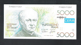 BANKBILJET   5000 FRANK -  REKENGELD  CERA  ( 12 Cm X 5.7 Cm ) (2 Scans) (BB 55) - [ 8] Finti & Campioni