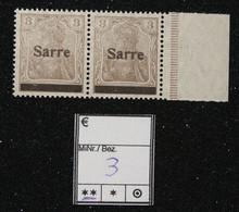 Nr. 3  Saargebiet Postfrisch Randstück - Settori Di Coordinazione