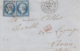 LAC Affr Y&T 22 X 2 Obl PARIS ANGOULE DU TELE Du 13 JANV 66 Adressée à Turin - 1849-1876: Période Classique