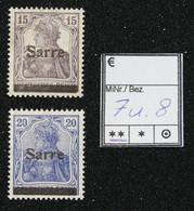 Nr. 7 Und 8  Saargebiet Postfrisch - Settori Di Coordinazione