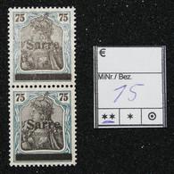 Nr. 15  Saargebiet Postfrisch - Settori Di Coordinazione