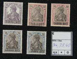 Nr. 34,38 Und 40  Saargebiet Postfrisch - Settori Di Coordinazione