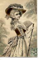Superbe Carte En Relief 1910 / Femme / Portrait Jeune Fille Avec Joli Chapeau Doré Et Fleuri - Women