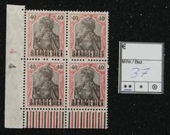 Nr. 37  Saargebiet Postfrisch Randstück 4er Block - Settori Di Coordinazione