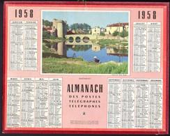 CALENDRIER GF 1958 - Parthenay, Lessive Au Bord De L'eau, Imprimeur Oberthur Rennes - Big : 1941-60