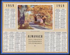 CALENDRIER GF 1959 - Retour Des Champs, Imprimeur Oberthur Rennes - Big : 1941-60