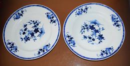 2 Assiettes Porcelaine De Tournai Décor à La Mouche - 24,5 Cm - Bleu Intense - Doornik (BEL)