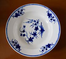 Assiette Creuse Porcelaine De Tournai Décor à La Mouche - 24,5 Cm - Bleu Intense - Doornik (BEL)