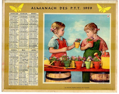 CALENDRIER GF 1959 - La Petite Marchande De Fleurs Et Le Chevalier Servant - Imp Oberthur (calendrier Double) - Big : 1941-60