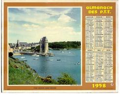 CALENDRIER GF 1958 - Tour Solidor à St Servan Et Place Village Boersch Bas-Rhin, Imprimeur Oberthur Rennes - Big : 1941-60
