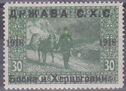 Jugoslawien 1918 (Ausgabe Für Bosnien-Herzegowina). Esel-Post, 30 Heller Grün, Mi 6 Ungebraucht - Anes