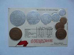 MONNAIE (Représentations) - Münzenkarte Mit Nationalflagge : MAROKKO - Monedas (representaciones)
