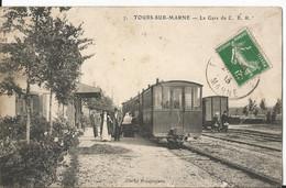 CPA - 51 - Tours Sur Marne  Gare Du C B R - Tramway En Gros Plan - Animée - Altri Comuni