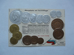MONNAIE (Représentations) - Münzenkarte Und Handelsflagge : RUSSLAND - Monedas (representaciones)