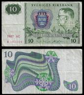 SWEDEN BANKNOTE - 10 KRONOR 1987 P#52e F/VF (NT#03) - Sweden