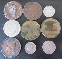 Lot De 9 Monnaies Et Médailles France + Divers Dont 50 Centimes 1917 En Argent, 10 Centimes Napoléon III 1861 A - Vrac - Monnaies