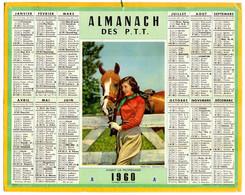 CALENDRIER GF 1960 - Avant La Promenade à Cheval, Imprimeur Oberthur Rennes - Big : 1941-60
