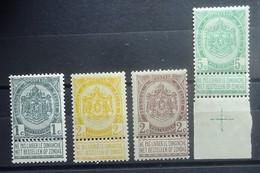 BELGIE  1893      Nr. 53 - 56    Postfris **    CW 64,50 - 1893-1800 Fijne Baard
