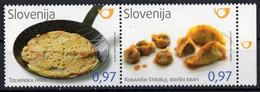 Slovenia 2016. Gastronomy Foods. Tolmin Frika, Kobarid Struklji And Bovec Krafi. MNH - Slowenien