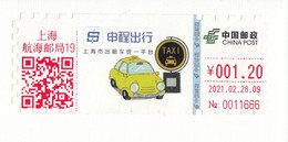 """China 2021, ATM, """"Shanghai Call Taxi Platform"""" On Postal Used Cover, With Arrival Postmark On Back - Brieven En Documenten"""