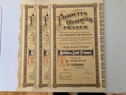 S.A.  PRODUITS  CHIMIQUES  De  FRANCE ------- Lot  De  3  Actions  A  De  100 Frs - Industry