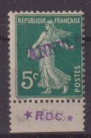 FRANCE : CI . 5 Cts . TYPE SEMEUSE . SURCHARGE VIOLETTE A LA MAIN . DE CARMET . (11A) . 1911 .    ( CATALOGUE YVERT ) . - Instructional Courses