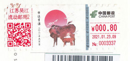 """China 2021, ATM, Franking Meter, """"Year Of Ox"""" On Postal Used Postcard, With Arrival Postmark - Brieven En Documenten"""