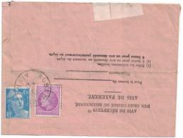 Aisne - Aubenton - Avis De Réception - 4fr50 Marianne Gandon -  1f50 Cérès De Mazelin - 5 Novembre 1947 - 1921-1960: Modern Period