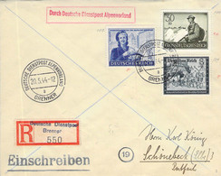 R-Cover MIF Deutsche Dienstpost Alpenvorland Brenner - Schönebeck (Elbe) AKS 1944 - Service