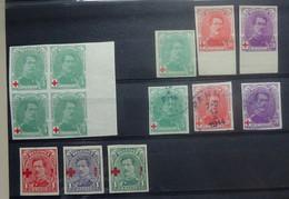 BELGIE  1914   Nr. 129  Blok Van 4  ++ / 129 - 131 * / 129-131 Gestemp. + 150-153 *  Proefdruk Ongetand    CW +/- 400,00 - 1914-1915 Red Cross