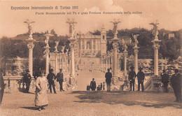 """11481""""ESPOSIZIONE INTERNAZIONALE DI TORINO 1911-PONTE MONUMENTALE SUL PO E GRAN FONTANA""""ANIMATA-VERA FOTO-CART NON SPED. - Ausstellungen"""