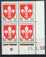 1186 Blason Lille 5 F. Rouge Coin Daté Du 23+1-1959 Luxe - Unused Stamps