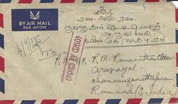 Malaysia 1954 Taiping Censored Cover - Federation Of Malaya