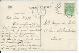 Fantasiekaart Met OCB 83 - Afstempeling WENDUYNE Type 2L - COBA 8 - 1893-1907 Coat Of Arms