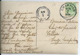 Fantasiekaart Met OCB 83 - Afstempeling CHAMPION - COBA 15 - 1893-1907 Coat Of Arms